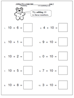 math worksheet : maths worksheets adding 10 to a single digit  maths blog : Maths Worksheets For Reception