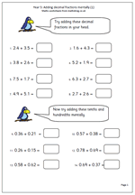 math worksheet : year 5 maths worksheet adding decimal fractions mentally  maths blog : Fractions For Year 5 Worksheets