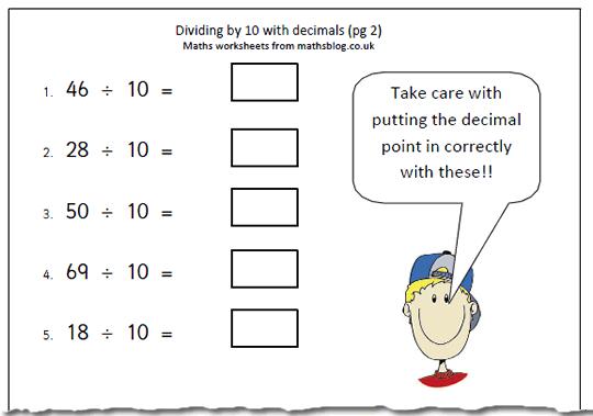 Dividing With Decimals Worksheets Dividing Decimals By Whole – Divide Decimals by Whole Numbers Worksheet