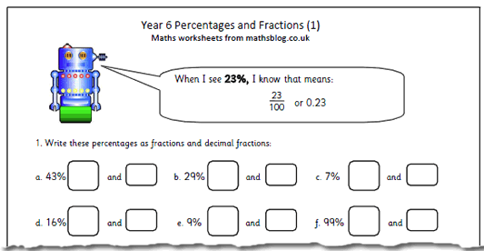math worksheet : year 6 maths worksheet percentages and fractions  maths blog : Fractions Decimals And Percentages Worksheets Ks2