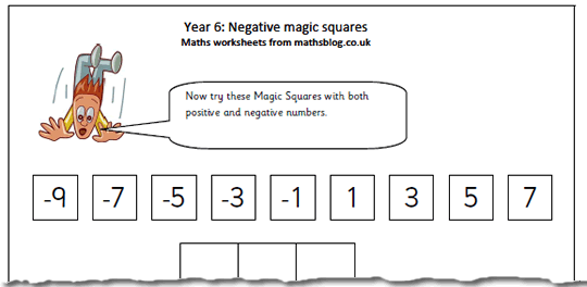 math worksheet : year 6 maths worksheet negative numbers magic square  maths blog : Math Magic Square Worksheet