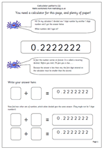 math worksheet : year 6 maths worksheet calculator patterns  maths blog : Decimal Patterns Worksheet