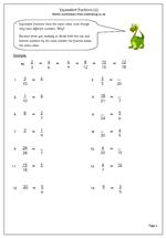math worksheet : year 6 maths worksheet equivalent fractions  maths blog : Year 6 Worksheets Maths