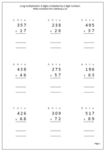 math worksheet : long multiplication 3 digits by 2 digits  maths blog : Long Multiplication Worksheets With Answers