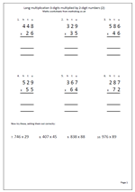 Long Multiplication Worksheets Year 6 & problems